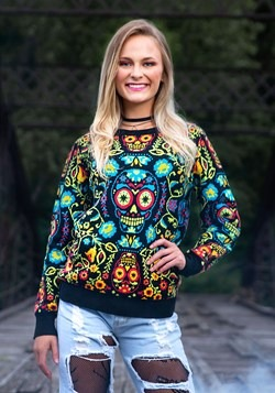 Sugar Skull Ugly Halloween Sweater for Adults 1