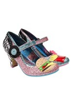 'Jitter Bug' Retro Diner Pink/Blue Irregular Choice Heels