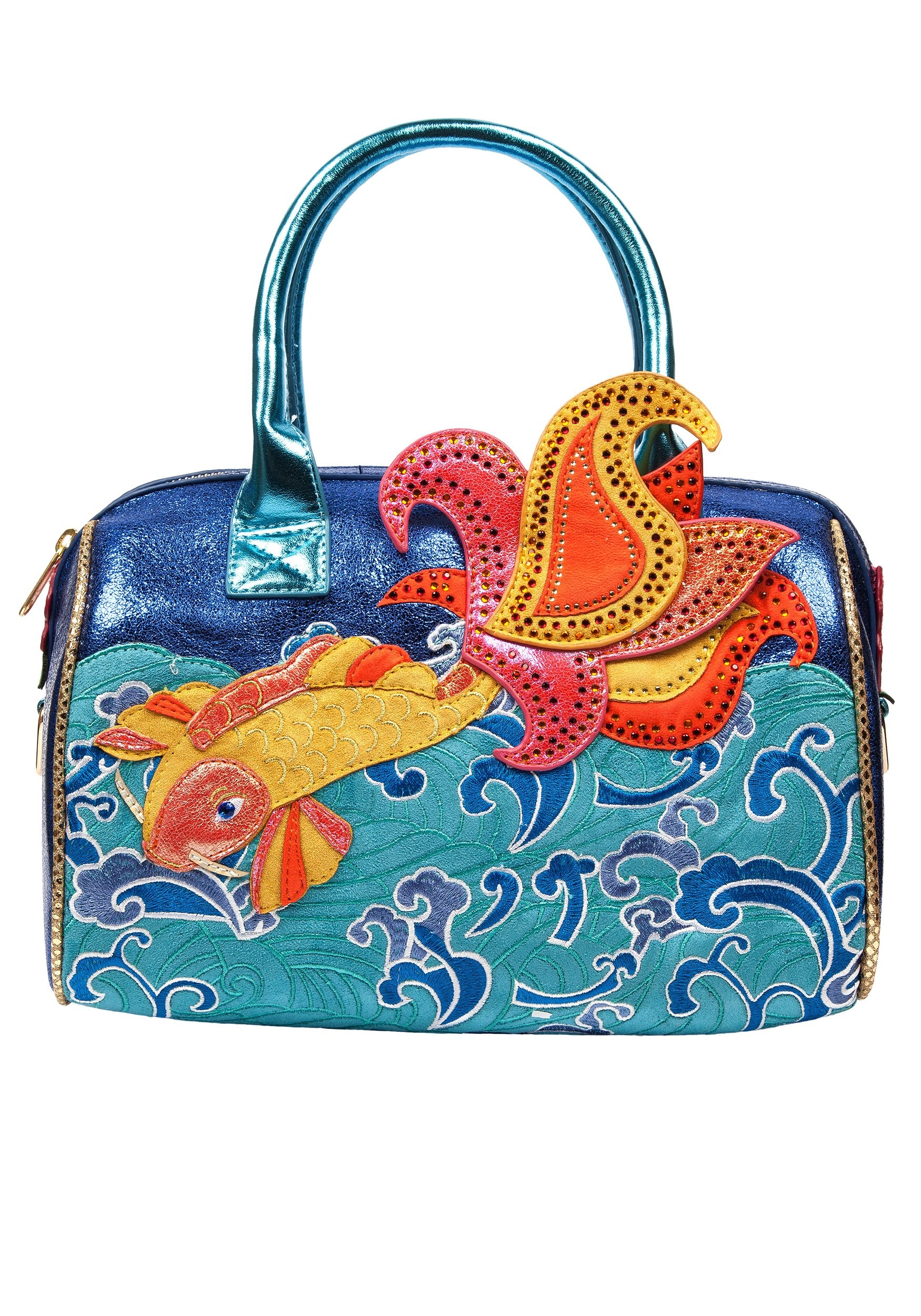 'Pescado Oro' Koi Fish Irregular Choice Turquoise Handbag