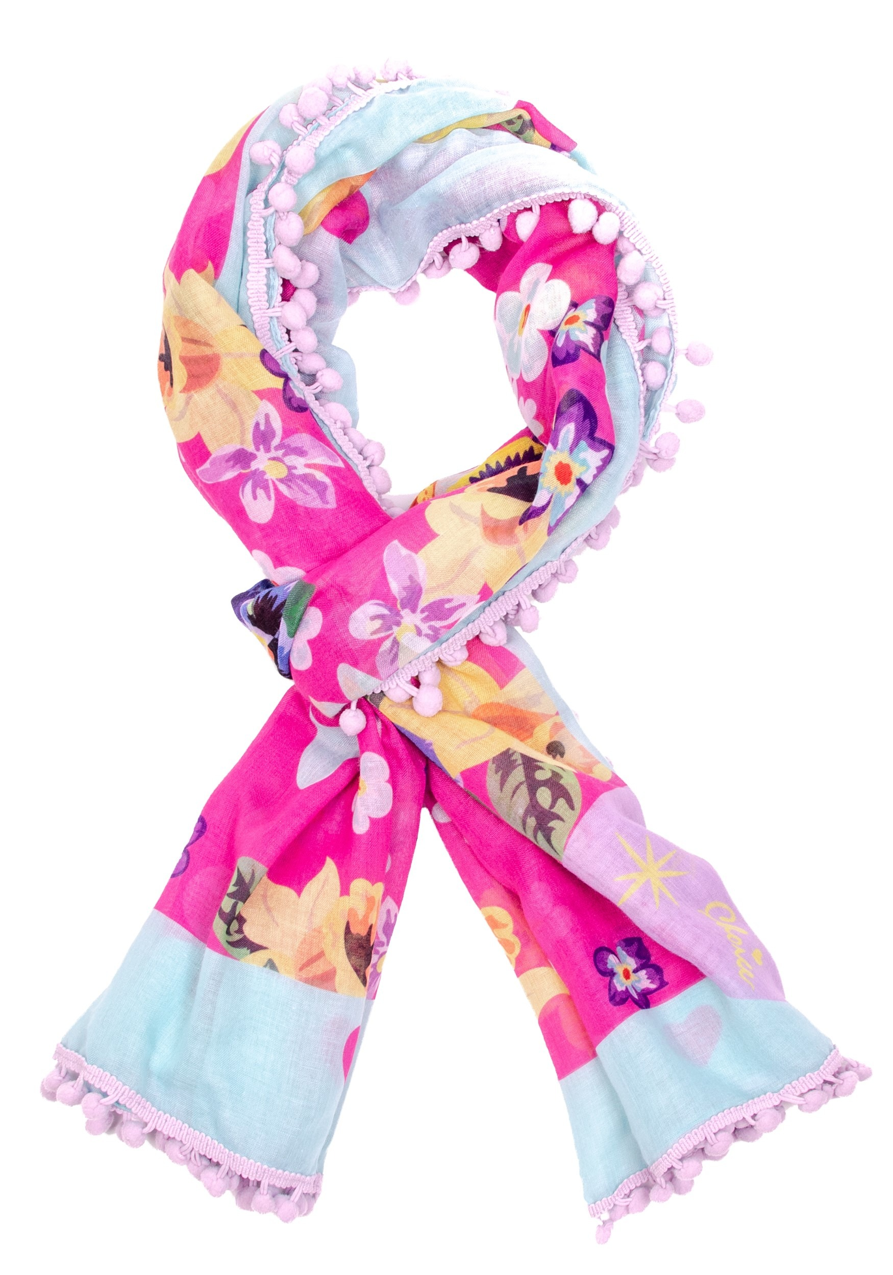 Mau Cat Print Irregular Choice Pom Pom Parade Scarf