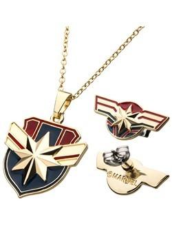 Captain Marvel Necklace Earring Set Alt1