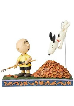 Charlie Brown and Snoopy in Leaves Jim Shore Statue