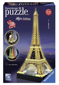 Eiffel Tower Ravensburger 3D Puzzle Night Edition
