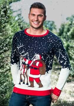 Adult Santa & Reindeer Ugly Christmas Sweater Alt 1