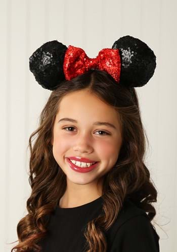 Minnie Mouse Sequin Ears with Sequin Bow