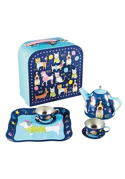 Pets Print (Dogs and Cats) 7pc Tin Tea Set in Case