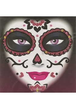 Day of the Dead Face Art Pink Glitter