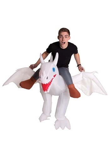 Adult Inflatable White Ride on Dragon Costume