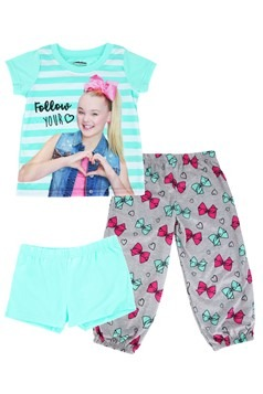Girls Jojo Siwa Shirt/Pants/Shorts Sleep Set