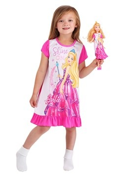 "Toddler Shine On Barbie Dorm Nightgown with 18"" Doll Gown"