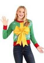 Juniors Christmas Gift Crop Top Ugly Christmas Swe
