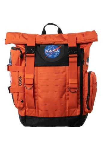 Nasa Orange Flight Suit Rolltop Backpack with Patc