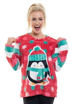 Ugly Xmas Penguin Plush Fleece Pullover