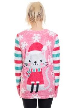 Ugly Cat Meowy Xmas Plush Fleece Pullover Alt 1