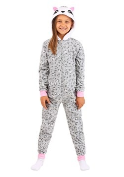 Girls Grey Leopard Hooded Blanket Sleeper