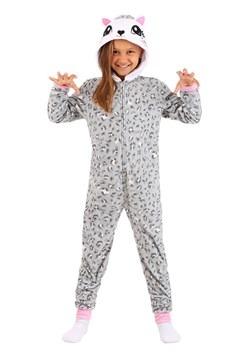 Girls Grey Leopard Hooded Blanket Sleeper