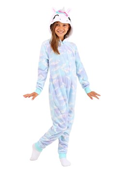 Girls Hooded Unicorn Blue Cloud Print Sleeper