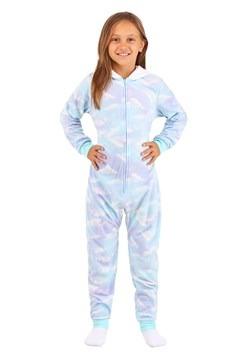 Girls Hooded Unicorn Blue Cloud Print Sleeper