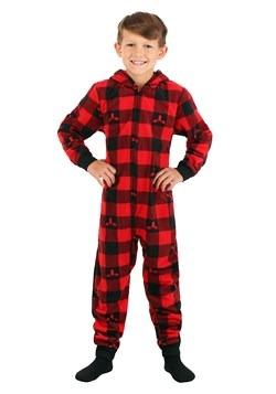 Boys Red Checkered Moose Hooded Blanket Sleeper