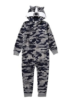 Boys Grey/Blue Camo Wolf Hooded Blanket Sleeper
