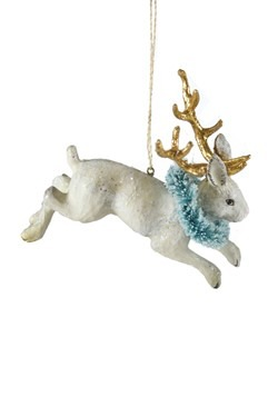 Jackalope w/Goldleaf Antlers Christmas Ornament