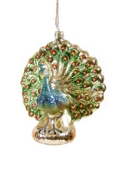 Peacock Glass Christmas Ornament