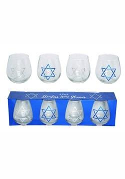 Glass Hanukkah Wine Glass Set