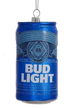 """4.75"""" Bud Light Beer Can Glass Ornament"""