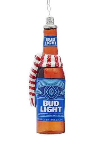 "5"" Glass Bud Light Beer Bottle w/ Scarf Ornament"