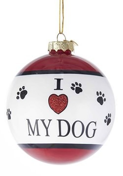 I Love My Dog Glass Ball Ornament