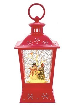 Snowman & Christmas Tree Swirl LED Water Lantern