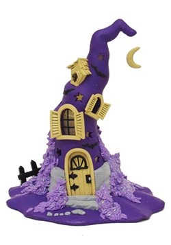 Claydough Halloween Purple LED Witch Hat Tablepiece