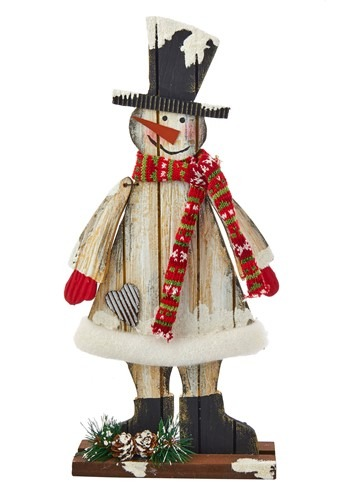 "16"" Wooden Black Hat Snowman"