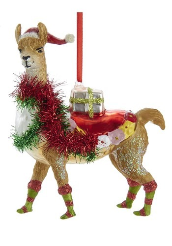 "5"" Glass Christmas Llama Ornament"