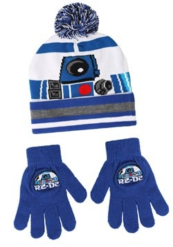 R2D2 Cuffed Winter Hat Set with Gloves