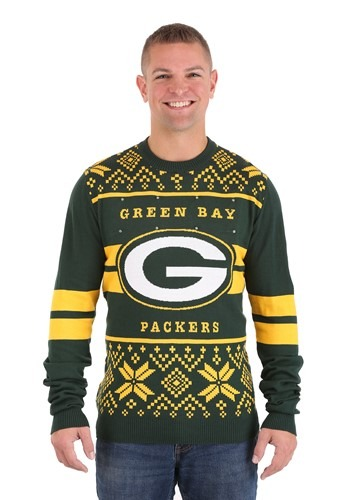 GREEN BAY PACKERS 2 STRIPE BIG LOGO LIGHT UP SWEATER