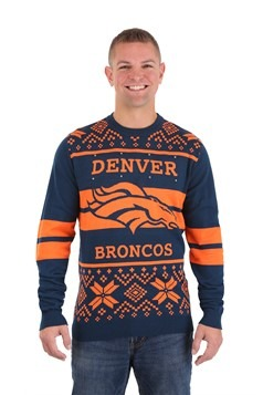 DENVER BRONCOS 2 STRIPE BIG LOGO LIGHT UP SWEATER