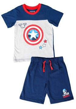 Captain America Tee and Terry Short Set Alt 1