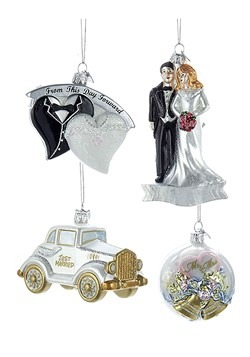 Noble Gems Glass Wedding 4pc Ornament Set