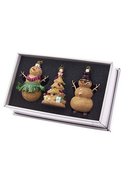 Noble Gems Glass Sand Tree & Snowman 3pc Ornament