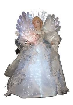 "12"" White Lighted Angel Tree Topper"