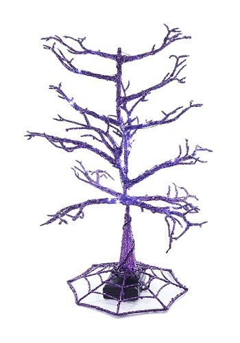 """14"""" Halloween Purple LED Tree"""