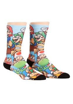 Mario Brothers Stacked Characters Sublimated Socks