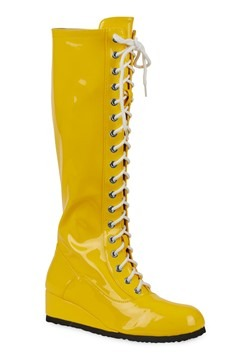 Mens Yellow Wrestling Lace Up Boots