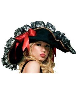 Women's Sexy Black Lace Pirate Hat