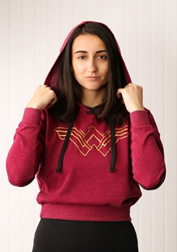 Wonder Woman Burnout Crop Pullover Hoodie