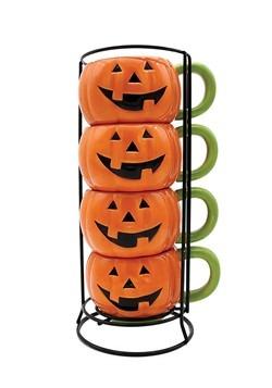 Jack-o-Lantern Stacking Mug Set