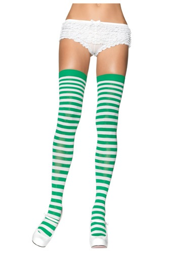 Womens Green and White Stockings