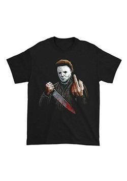 Michael Myers Middle Finger Mens Black T-Shirt