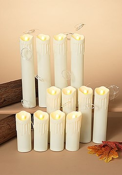 12 Lighted Spooky Halloween Hanging Candles w/Timer & Remote